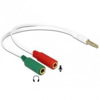 Delock adaptér sluchátek 1 x 3.5 mm 4 pin Stereo jack samec - 2 x 3.5 mm 3 pin Stereo jack samice (iPhone)