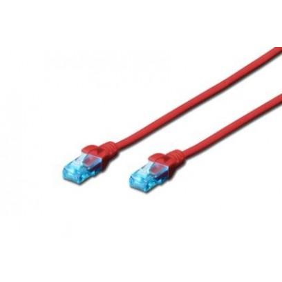 Digitus Ecoline Patch kabel, UTP, CAT 5e, AWG 26/7, červený 3m, 1ks