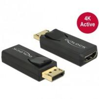 Delock adaptér Displayport 1.2 samec - HDMI samice 4K aktivní černý