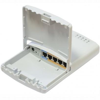 MikroTik RB750P-PB Atheros AR7241 CPU, 32MB RAM, 5xLAN (4x PoE-OUT), Outdoor, nap. adaptér, ROS L4, mont.set