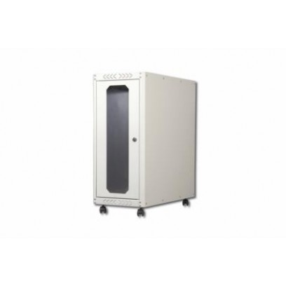 DIGITUS Počítačové pouzdro s kolečky, rozměry. 698,5x300x600 mm. 583x246x600 mm, skleněné dveře, RAL 7035