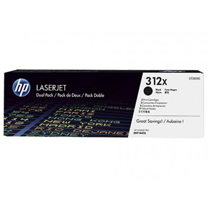 HP CF380XD Toner 312X 2-pack High Yield LJ Toner Cart, 2 x 4400 str, Black