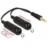 Delock audio rozbočovač stereo jack samec 3.5 mm 3 pin - 2 x stereo jack samice 3.5 mm 3 pin + Ovladače hlasitosti