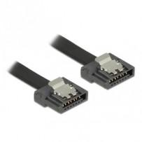 Delock kabel SATA FLEXI 6 Gb/s 10 cm černý kovová spona