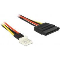 Delock napájecí kabel SATA 15 pin samec - 4 pin floppy samec 15 cm