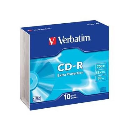 VERBATIM CD-R 700MB, 52x, slim case 10 ks